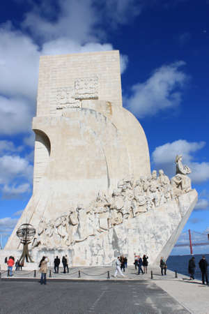 BELEM ,LISBON, APRIL12, 2013:One of the most popular tourist attraction, The Monument to the Discoveries in Belem, Lisbon, Portugal on april 12,2013
