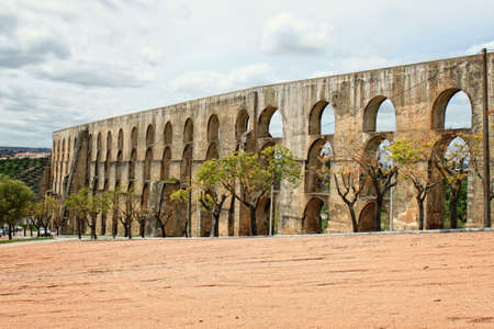 Aqueduct in Elvas Portugal in springtime, called Aqueduto da Amoreira