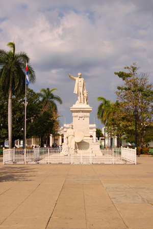 Statue of Jose Marti in the main Plaza of Cienfuegos, Cuba