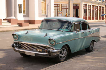 CIENFUEGOS, CUBA - FEBRUARY 25, 2014:  A old fashioned classic Chevrolet car parked on the street in Cienfuegos, Cuba on February 25, 2014