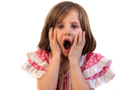 mouthed: Little girl holds hands to face with open mouthed expression of shock