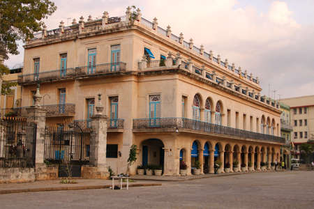 Beautiful Colonial architecture in Havana, Cuba, a square in the old part of the city in Plaza de Armas in the evening