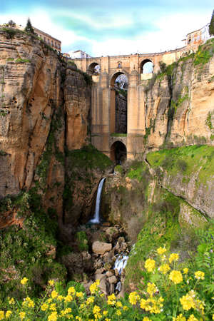 nuevo: Puente Nuevo bridge at evening time in Ronda with waterfall, Andalucia, Spain