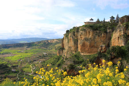 cliff edge: View of valley and cliffs of El Tajo in Ronda, Spain