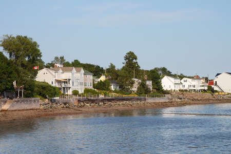 moorings: Waterfront property on the Bay of Fundy in St. Andrews, New Brunswick, Maritimes, Canada Stock Photo