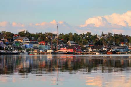 View of the famous harbor front of Lunenburg, Nova Scotia, one of the Maritime Provinces , Canada Banco de Imagens