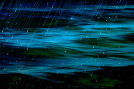 soft hail: Dark and ominous blur abstract of ocean with rain in black, and shades of green and blue
