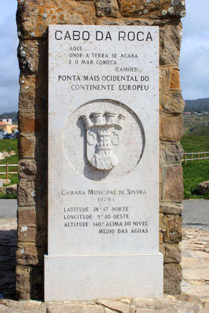 stating: Cabo da Roca, April 22, 2014: Monument stating most western point of Continental Europe, in Sintra, April 22, 2014