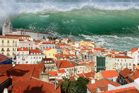 Giant tidal wave or tsunami about to crash on the houses of Lisbon Stock Photo