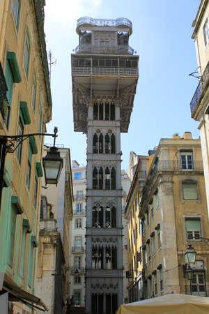 justa: Santa Justa elevator or lift in Lisbon Portugal