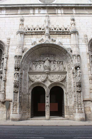 made in portugal: Ornate doorway entrance made in Manueline style in Lisbon Portugal