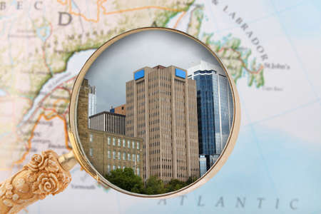 Looking in on some office or business buildings along the waterfront of Halifax, Nova Scotia, in the Maritime provinces of Canada photo