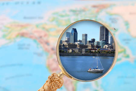 lawrence: Looking in on Montreal Canada with map of North America in the background