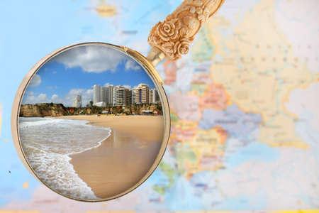 rocha: Looking in on a popular beach in southern Portugal, Praia da Rocha, Algarve
