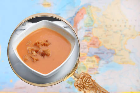 food research: Looking in on foods of the world showing Gazpacho soup from Spain with European map in the background