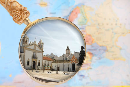 Lagos: Looking in on Lagos, Algarve, Portugal with European map in the background