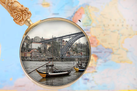 european map: Looking in on Porto, Portugal with European map in the background