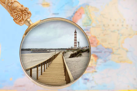 european map: Looking in on Praia Barra, Costa Nova, Portugal with European map in the background