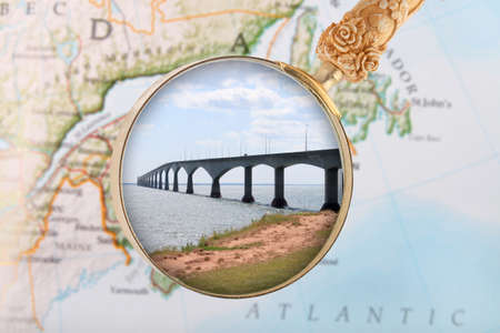 locating: Looking in on the Confederation Bridge connectin New Brunswick and  Prince Edward Island, Canada