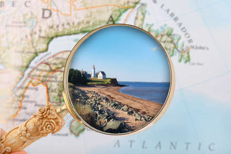 locating: Looking in on Panmure Island lighthouse in PEI, Atlantic Provinces, Canada
