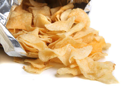 snacking: Bag of kettle chips spilling over on a white background