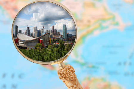 calgary: Looking in on Calgary Alberta with blurred map of North America in the background