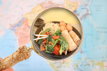 china cuisine: World food looking in on China and come of its cuisine Stock Photo