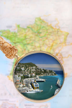 tourquoise: Looking in on Nice, France with blurred map in the background Stock Photo