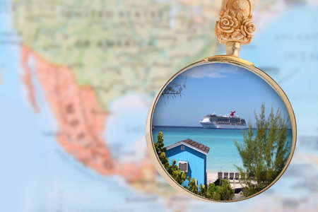 caribbean cruise: Looking in on relaxation  in the Caribbean with blurred map of North America in the background Stock Photo