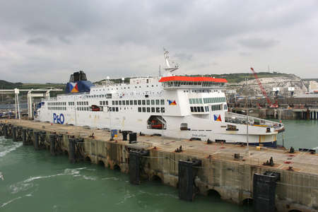 docked: DOVER, UNITED KINGDOM, JUNE 20, 2015: Ferry boat docked in the Port of Dover in the English Channel, England Editorial