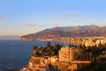 sorrento: Sunset on the rugged Amalfi Coast in Sorrento, Italy