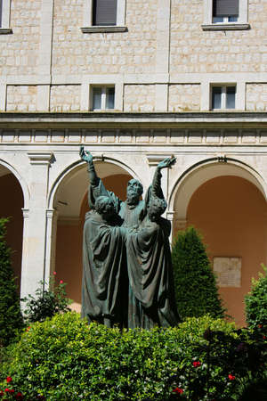 religious building: Statue of St. Benedict when he died in the gardens in the Abbey of Montecassino, Italy