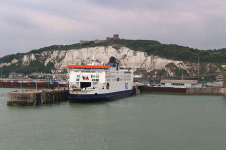 dover: DOVER, UNITED KINGDOM, JUNE 20, 2015: Ferry boat docked in the Port of Dover in the English Channel, England Editorial