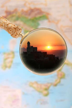 sorrento: Magnifying glass looking in on Sorrento, Italy at sunset