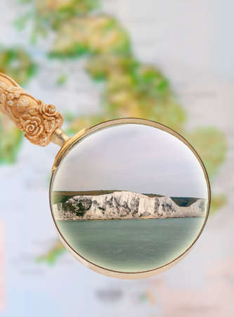 kent: Magnifying glass looking in on  the white cliffs of Dover, England