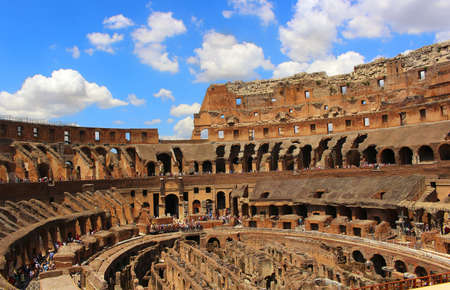 amphitheater: ROME,ITALY-JUNE 27, 2015: Romes greatest amphitheater, The Colosseum where at one time it seated 55,000 people seated according to rank, in Italy Editorial