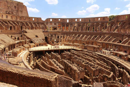ROME,ITALY-JUNE 27, 2015: Romes greatest amphitheater, The Colosseum where at one time it seated 55,000 people seated according to rank, in Italy Editorial