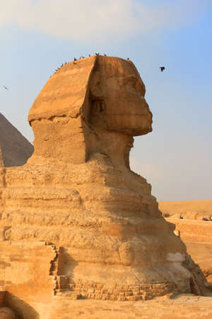 likeness: The Sphinx with the likeness of Khafre and a lions body at Giza in Egypt