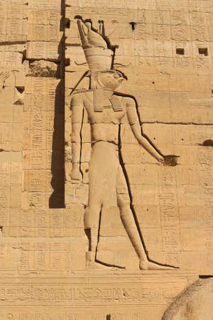 horus: Horus represented on the wall of the Temple of Philae, dedicated to the goddess Isis, Aswan, Egypt Foto de archivo