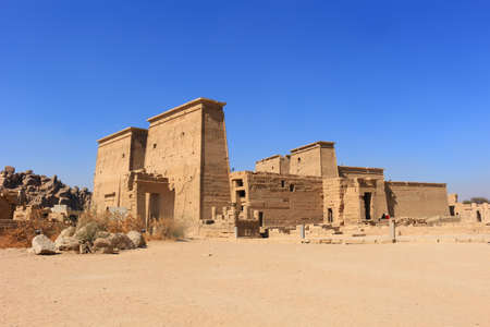 Graeco-Roman Temple of Philae  dedicated to the cult of Isis in near Aswan,  Egypt