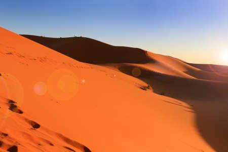 erg: Dunes of Erg Chebbi in the Sahara Desert at sunset, Morocco