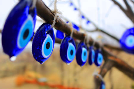 charms: Glass blue Nazars, charms to ward off the evil eye hanging off the branches of a tree in the rain in Turkey  (shallow depth of field)