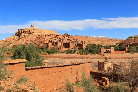 ochre: Beautiful and colorful ochre village of Ait Benhaddou a ksar  in Morocco