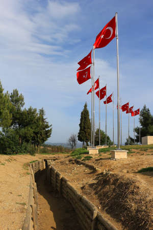trenches: Trenches in Gallipoli Turkey used in the first world war with Turkish flags waing