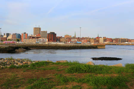 loyalist: View of Saint John, New Brunswick, in the evening on the Bay of Fundy in the Maritime Provinces of Canada Stock Photo