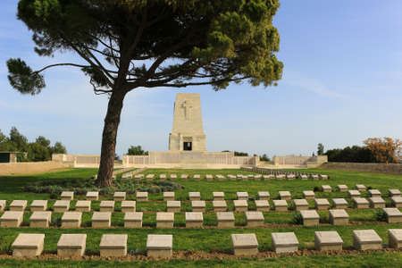 graves: GALLIPOLI, TURKEY - FEBRUARY 23, 2016: Cemetery and monument dedicated to those lost in the Gallipoli Peninsula at Anzac Cove in Turkey during World War I Editorial