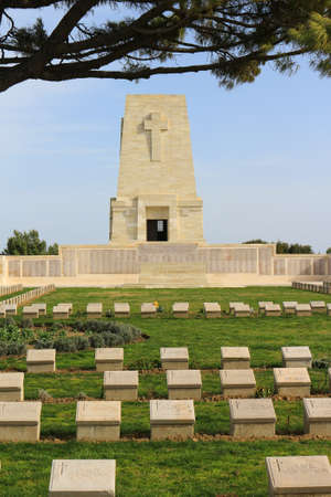 dedicated: GALLIPOLI, TURKEY - FEBRUARY 23, 2016: Cemetery and monument dedicated to those lost in the Gallipoli Peninsula at Anzac Cove in Turkey during World War I Editorial