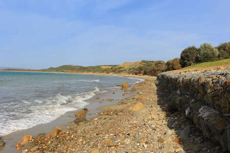 world war 1: Shore at  Anzac Cove, Turkey the scene of one ofthe bloodiest campaigns of World War 1 in the Gallipoli Peninsula on the Aegean Sea Stock Photo