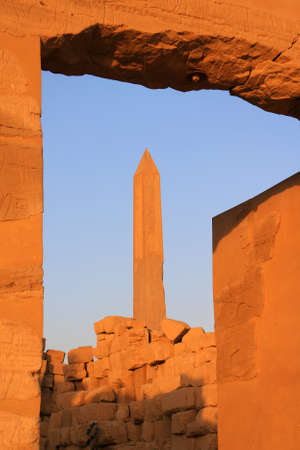 hieroglyphics: Obelisk with ancient Egyptian hieroglyphics in the temple of Karnak in Luxor Egypt, Africa at sunset
