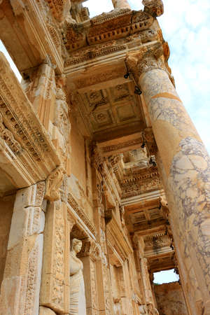 Columns at the Library of Celsus Ruins in Ephesus, Turkey Stock Photo